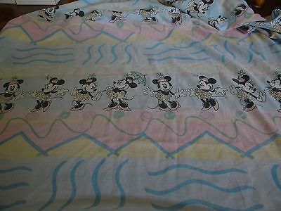 Vtg Minnie Mouse Pink Blue Twin Fitted Sheet Fabric Material Cutter