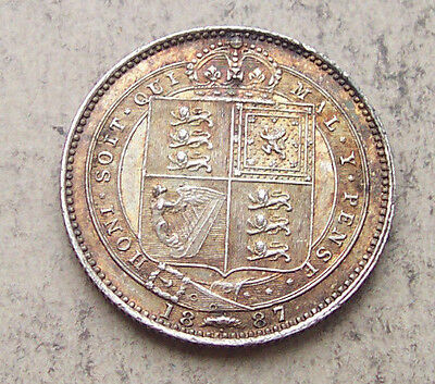 Lovely toned 1887 Victoria shilling