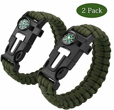 Paracord Survival Bracelet,Cido 2 Pack [5 In 1] Outdoor Survial Kit With Cord
