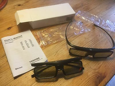 Lunettes Toshiba FPT-AG04G HD 3D TV Active Shutter Glasses 2 Sets Bluetooth New