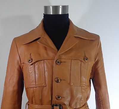 Mens 1970`s Tan Soft Leather Belted Safari Jacket Slim 42 R