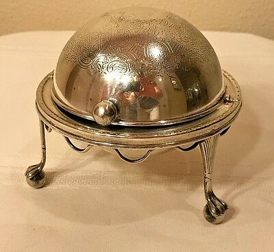 Domed Vintage Silverplate Roll Top Butter Dish With Etched Design