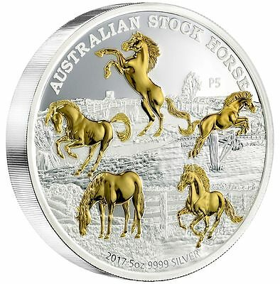 AUSTRALIAN STOCK HORSE - 2017 5 oz Pure Silver Gilded Coin - Perth Mint