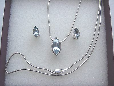 Quality Sterling Silver and Blue Topaz Pendant Chain and Matching  Earrings Set