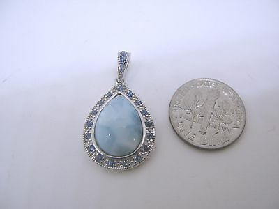 Larimar Seahorse Premium Genuine Natural Blue 10mm .925 Sterling Silver Pendant