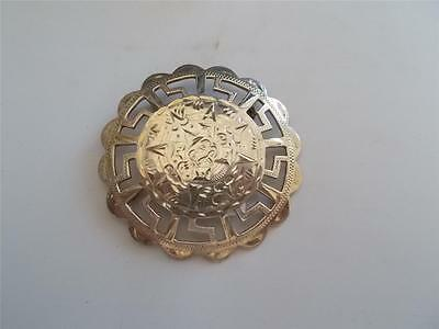 Signed PLATA DE JALISCO GUAD Mexico 925 Aztec Mexican Solid Silver Pin Brooch