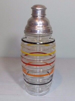 VTG Hocking Glass Company Banded Rings Cocktail Bar Shaker Red Yellow Black OR
