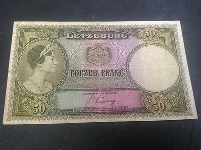50 Luxembourg Frang banknote dated 1944