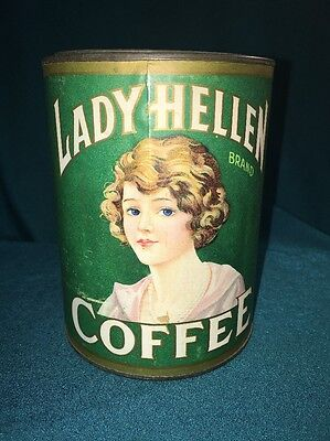 Vintage Lady Hellen Coffee Tin Kellum Co. Paper Label Advertising Can