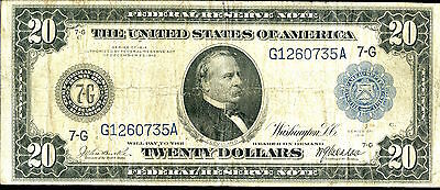 1914 $20 Federal Reserve Note - Large Currency - Twenty Dollars SZ033