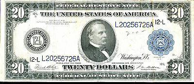 1914 $20 Federal Reserve Note - Large Currency - Twenty Dollars SZ034