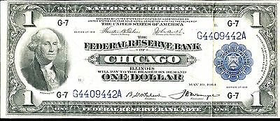 1918 $1 Federal Reserve Note Bank of Chicago - Large Currency SZ038