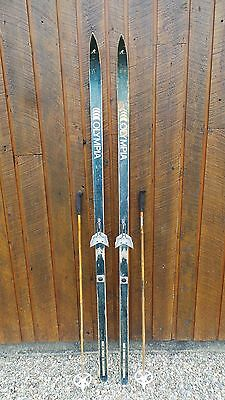 """Vintage Wooden 77"""" Long Skis Blue Finish Signed OLYMPIA + Bamboo Poles"""