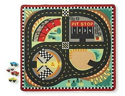 Round the Speedway Race Track Rug With 4 Race Cars (39 x 36 inches) - Melissa &
