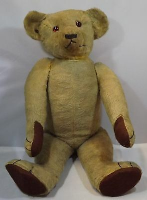 "VINTAGE 1930s/40s LARGE 25"" JOINTED MOHAIR TEDDY BEAR, POSS CHAD VALLEY w BUTTON"