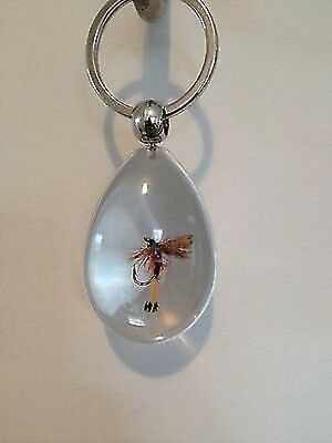 FLY FISHING KEY RING - Clear key ring with handmade fly moulded in!