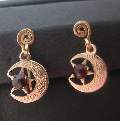 Victorian Crescent Moon & Star Bohemian Rose Cut Garnet Unusual Earrings