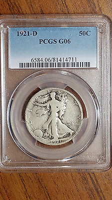1921-D Walking Liberty Silver Half Dollar. PCGS G6 Key-Date Collector Coin
