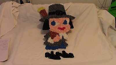 "Vintage Melted Popcorn Pilgrim Man Thanksgiving Decoration 18 1/2"" Very Clean"