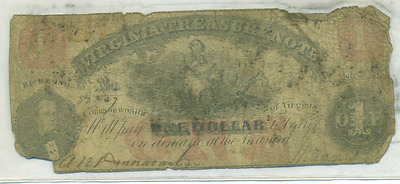 July 21, 1862 $1 Virginia Treasury Note Ivil War Era Southern State Issue
