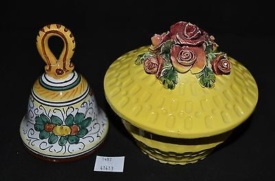 ThriftCHI ~ Hand Painted Italian Pottery Deruta Bell & Yellow Floral Lidded Dish