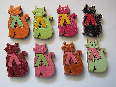"8  "" CAT "" MIXED  WOODEN Coloured Buttons..New..1.7cm x 3cm.....Lot E"