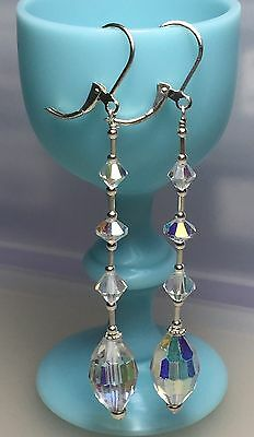 223Vintage 1950's Long AB Crystal Bead Solid Sterling Silver Earrings #223
