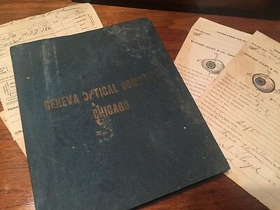 1896 Optometry Patient Manifold Book Eye Dr Order Forms Geneva Optical Chicago