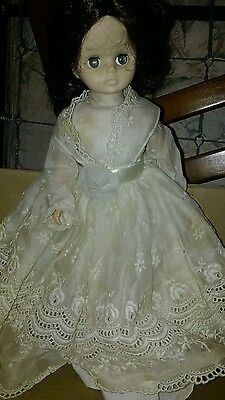 Vintage DOLL with lace dress flower ribbon thigh highs brown hair