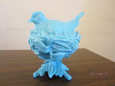 Westmoreland? Blue Glass Robin Dove Bird On Nest