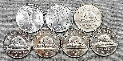 Lot Of 7 Nice Canada 5 Cents Coins - 1944, 1945, 1949, 1954, 1962, 1964 & 1965