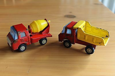 Vintage Japanese Tin Toy Tip Truck and Cement Mixer