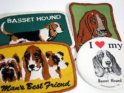 Vintage lot of BASSET HOUND patches and pin 70s DOG LOVER