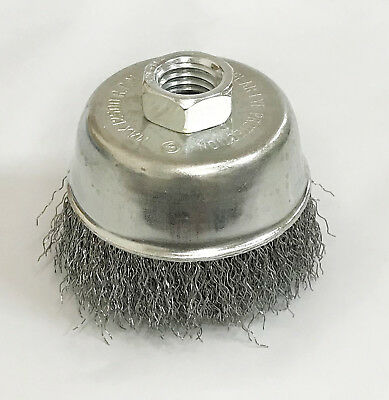 "2pc - 3"" x 5/8"" Arbor FINE Crimped Wire Cup Wheel Brush - For Angle Grinders"