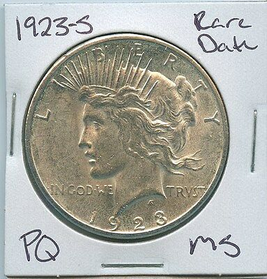1923-S Peace Dollar Rare Date Uncirculated US Mint Coin PQ Silver Coin Unc MS