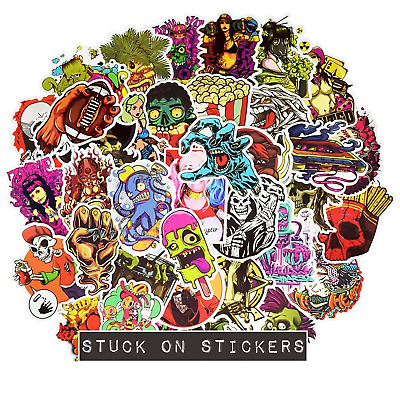 Scary Horror Themed Mixed Skateboard Stickers 20pc Skull Blood Gore Sticker Bomb