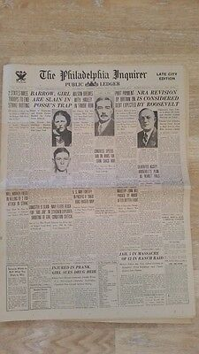 Bonnie and Clyde Killed Philadelphia Inquirer Newspaper May 24 1934