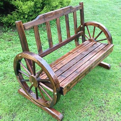 Wooden Garden Bench Timber Outdoor Patio Park Wagon Wheel Chair Seat Furniture..