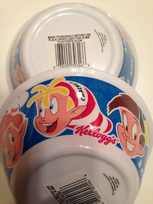 New~ 2 Kellogg's Rice Crispy Cereal Bowls~ Snap ~Crackle ~Pop Glow In Dark