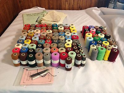 Punch Needle Art Lot Of 96 New Spools, 35 Used Spools, 3 Punch Needles And Patte