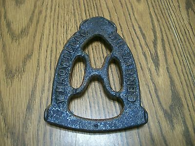 Antique Cast Iron Trivet For Sad Iron W.h. Howell Three Tab Feet Primitive