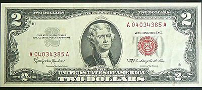 U.s.$2 Note Series 1963 Red Seal.monticello Reverse.good Condition (Refer Scans)