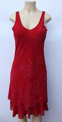 Vtg 70s Red Floral Beaded Cocktail Evening Dress Sheer Cut Out Hem Sz S M