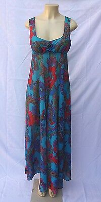 Vintage Olga Blue Red Floral Maxi Sleeveless Summer Dress Lingerie Gown Sz Small