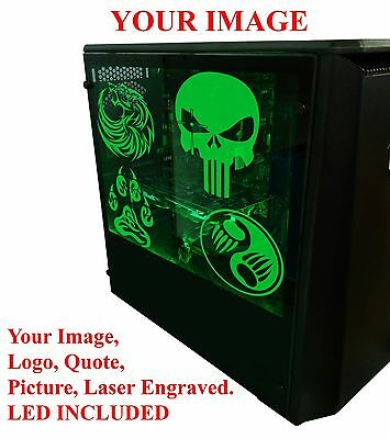 Laser Engraved, Custom Clear Acrylic Panel for Computer Case PC Game Sink