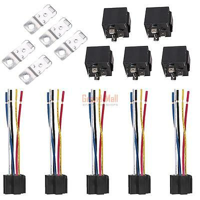 5ps 12V SPDT 5Pin Car Relay with Wires & Harness Socket 13CM Cords 30/40 Amp USA
