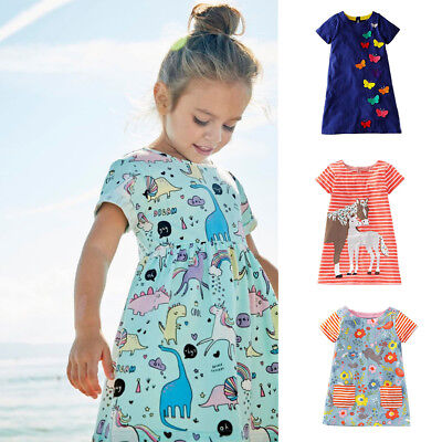 Girls Clothes Summer Dress with Floral Printed Jersey Tops Kid Dresses 15 Colors