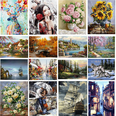 New DIY Digital Oil Painting Kits Paint by Numbers on Canvas Scenery Home Decor