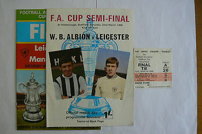 1969 Leicester V Man City Cup Final Programme + Ticket + Leicester V Wba Semi