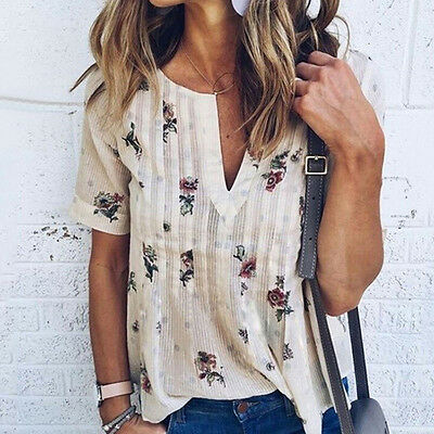 Fashion Womens Summer Floral Short Sleeve Shirt Loose Casual Blouse Tops T-Shirt